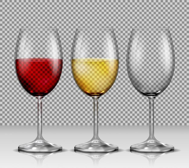 Set Des Verres à Vin Vectoriel Transparent Vides, Au Vin