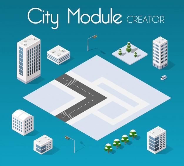 Set de ville isométrique Vecteur Premium
