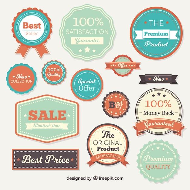 Set vintage de badges de vente Vecteur gratuit