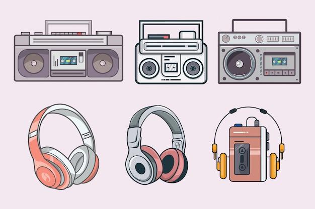 Set vintage radio et casque Vecteur Premium