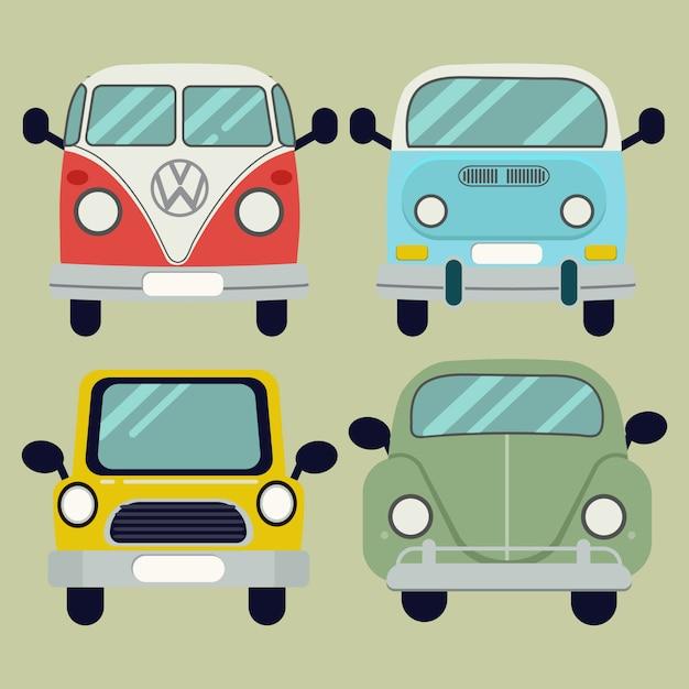 Set de voiture de dessin animé vector Vecteur Premium