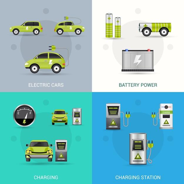 Set de voiture électrique Vecteur Premium