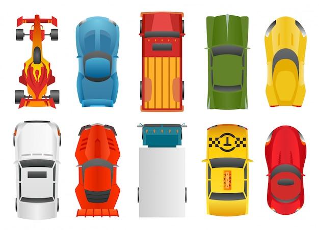 Set de voitures de sport et de course Vecteur Premium