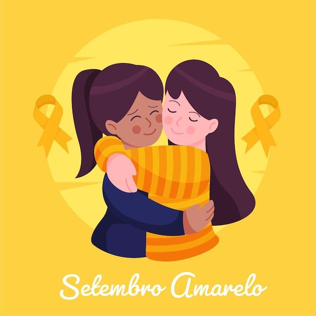 Setembro Amarelo Avec Des Amis étreignant Vecteur gratuit