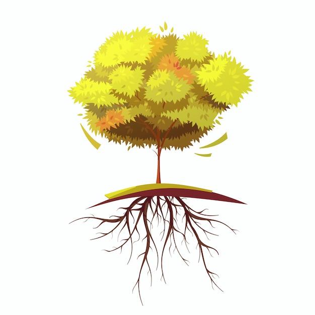 Seul arbre d'automne Vecteur gratuit