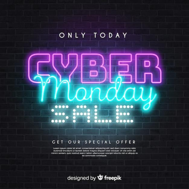 Seulement aujourd'hui les ventes cyber lundi dans le style néon Vecteur gratuit