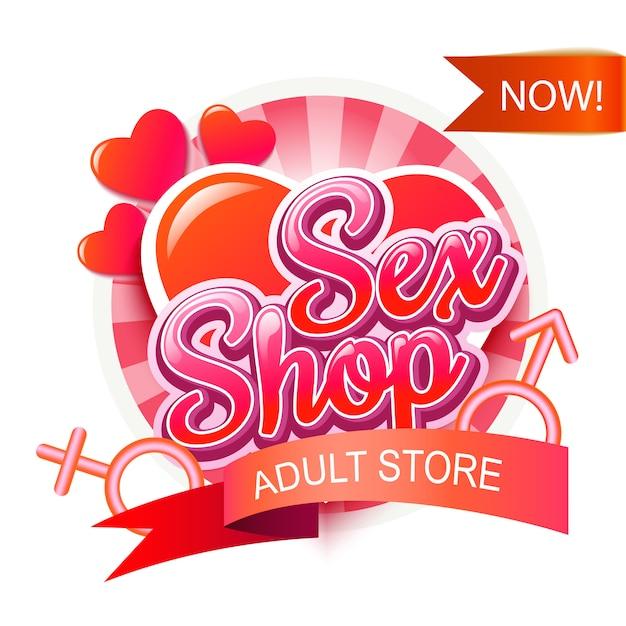 Sex shop logo Vecteur Premium