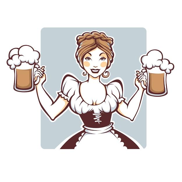 Sexy Femme Allemande Tenant Une Bière Pression, Concept Oktoberfest Vecteur Premium