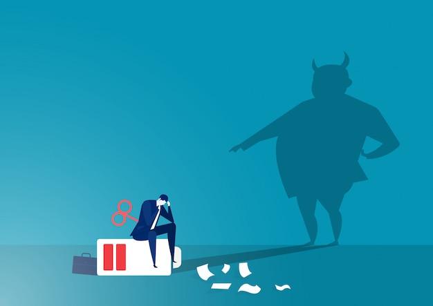 Shadow Angry Patron Gronde Directeur Avec Le Concept De Stress Des Employés Vecteur Premium