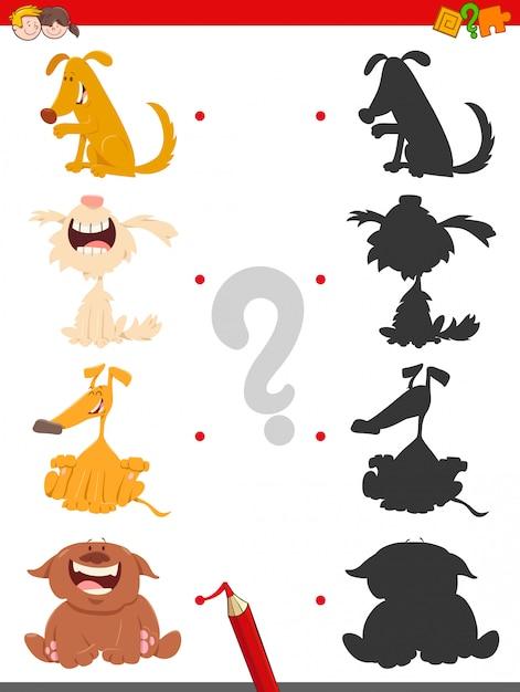 Shadow jeu éducatif pour les enfants avec des chiens Vecteur Premium