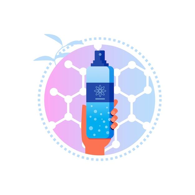 Shampooing sec avec étiquette de soin des cheveux nanoformula Vecteur Premium