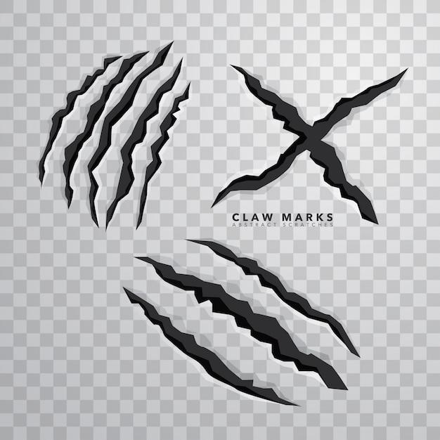 Sharp claw marks sur fond isolé Vecteur gratuit