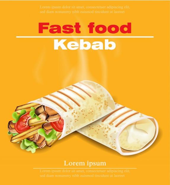 Shawarma Kebab Carte De Restauration Rapide Vecteur Premium