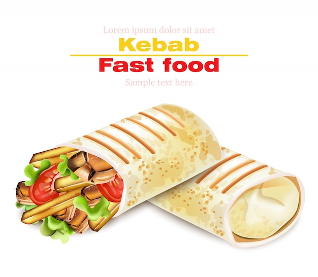 Shawarma kebab restauration rapide illustration Vecteur Premium