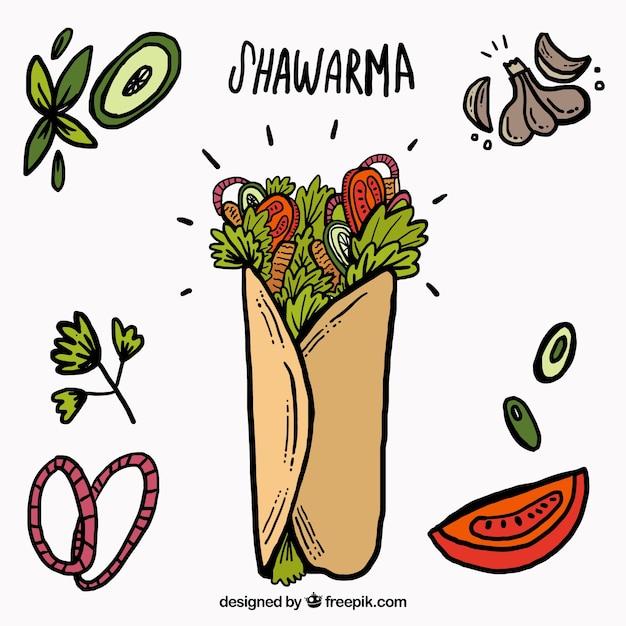 Shawarma sketches avec des ingrédients Vecteur gratuit