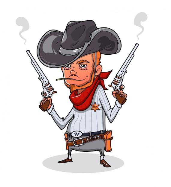 Shérif avec deux revolvers Vecteur Premium
