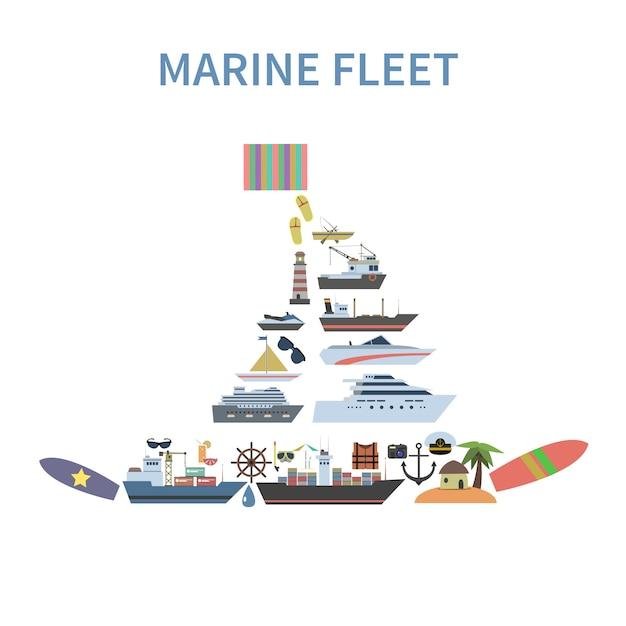 Ship concept flat Vecteur gratuit