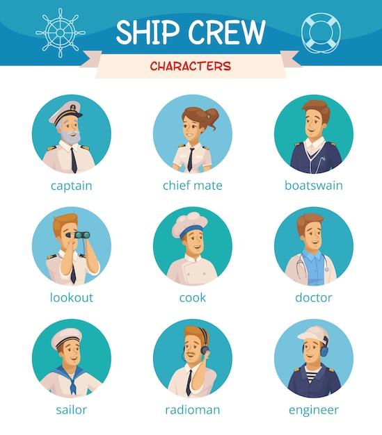 Ship crew characters icons set Vecteur Premium