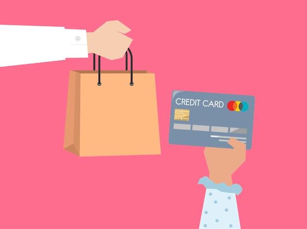 Shopper payant par illustration de carte de crédit Vecteur gratuit
