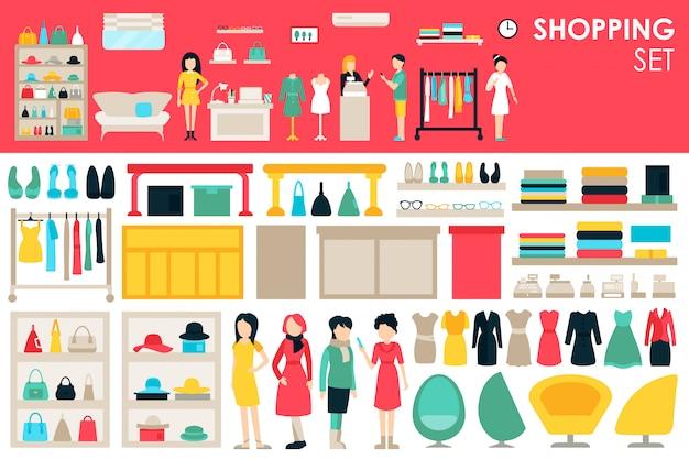 Shopping big collection dans le concept de fond design plat Vecteur Premium