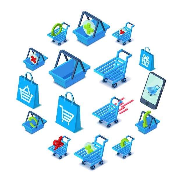 Shopping cart set d'icônes, style isométrique Vecteur Premium