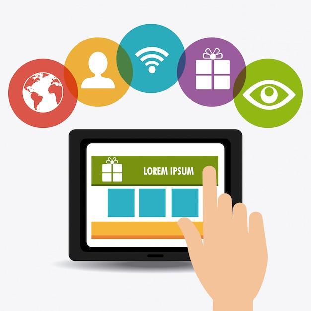 Shopping, commerce électronique et marketing Vecteur gratuit