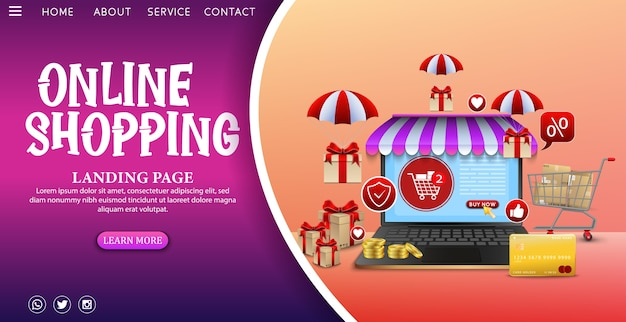 Shopping Concept De Design En Ligne Sur Une Application Mobile Avec Des Cadeaux Vecteur Premium