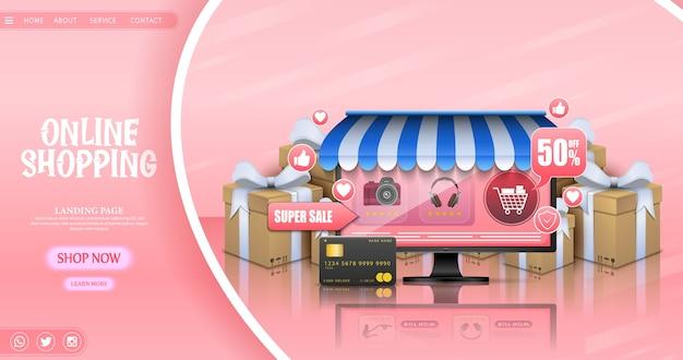 Shopping Concept De Design En Ligne Avec Ordinateur Portable Et Cadeaux Vecteur Premium