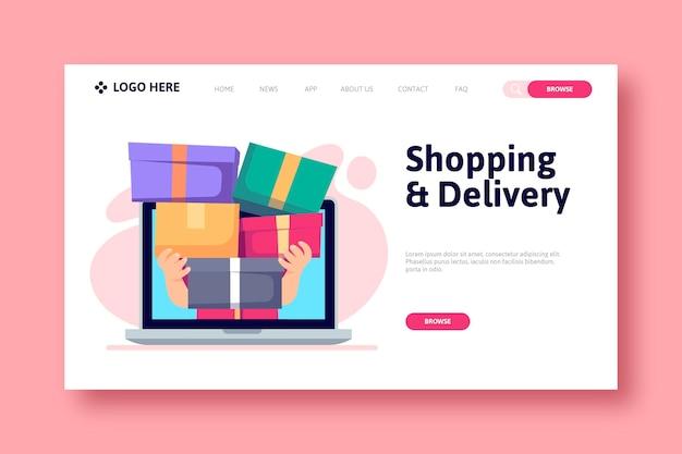 Shopping Concept De Page De Destination En Ligne Vecteur Premium