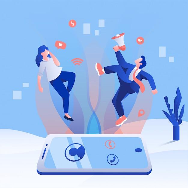 Shopping Concept De Vente D'application En Ligne. Personnes Volant Depuis Un Smartphone Avec Une Activité De Promotion. Vecteur Premium