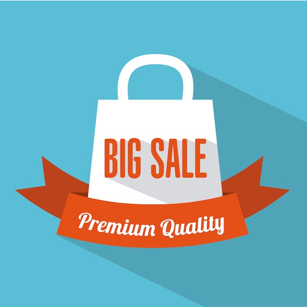 Shopping design au cours de l'illustration vectorielle fond bleu Vecteur Premium