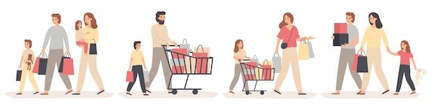 Shopping En Famille. Les Parents Achètent Des Cadeaux Pour Les Enfants Heureux, Les Jeunes Couples Avec Enfants En Magasin Et La Vente Familiale. Vecteur Premium