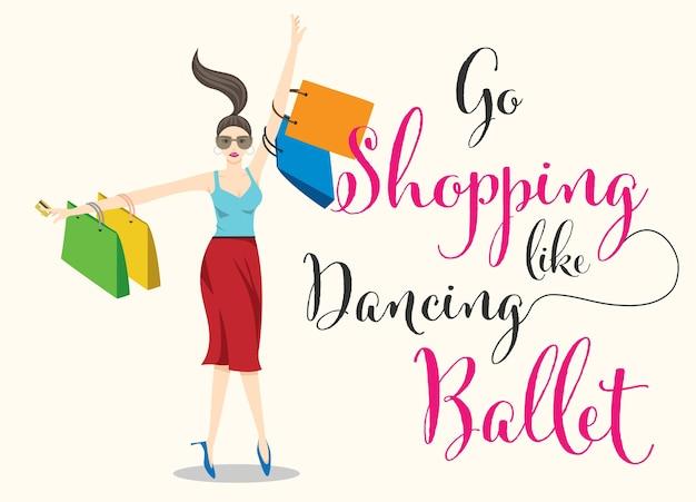 Dessin Shopping shopping femme qui danse le personnage de dessin animé de ballet