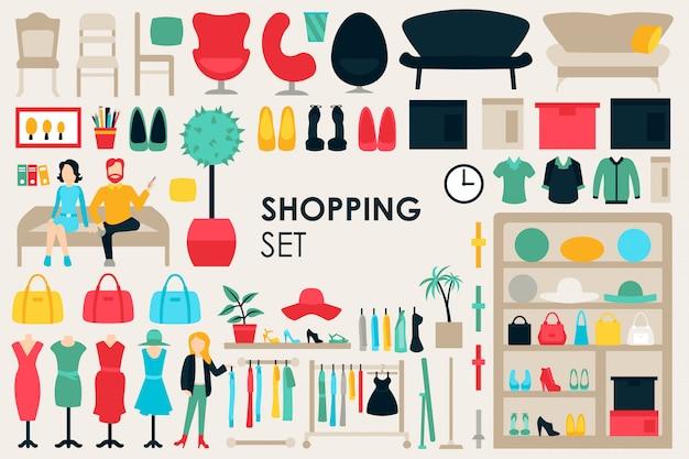 Shopping grande collection fond Vecteur Premium