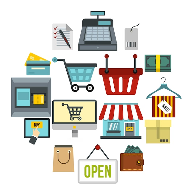 Shopping icônes définies, style plat Vecteur Premium