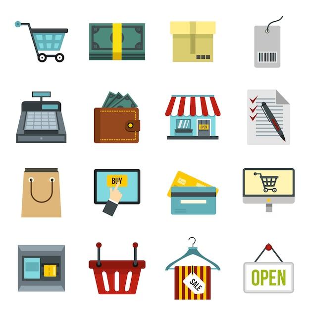 Shopping icônes définies Vecteur Premium