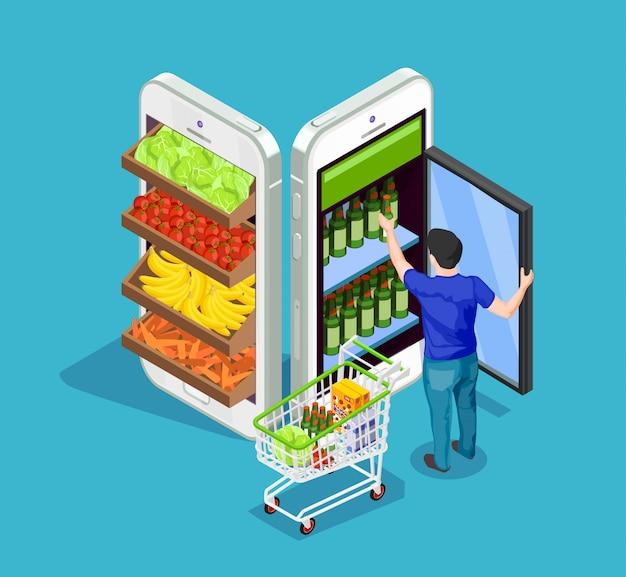 Shopping isométrique de personnes en ligne Vecteur gratuit