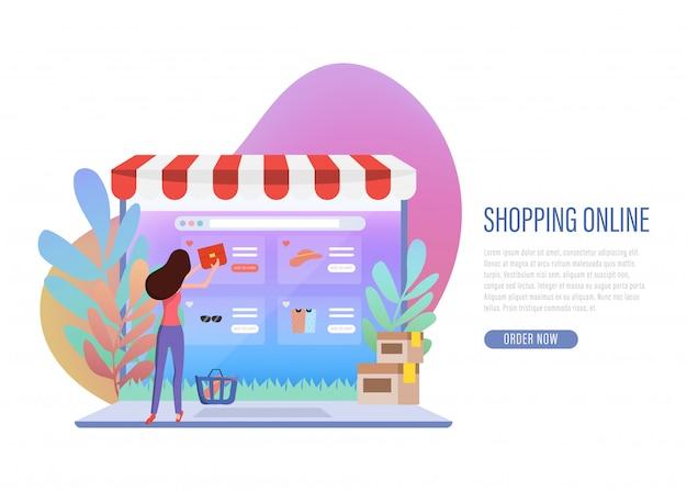 Shopping en ligne bannière web page de destination. Vecteur Premium