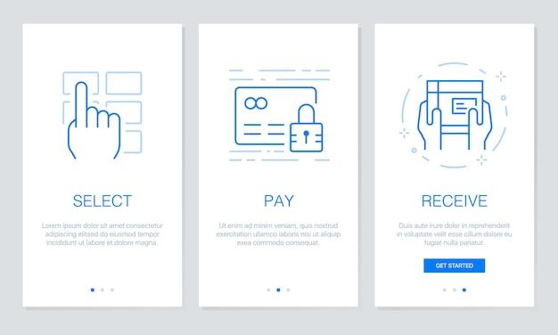 Shopping en ligne des écrans d'application d'accueil. Vecteur Premium