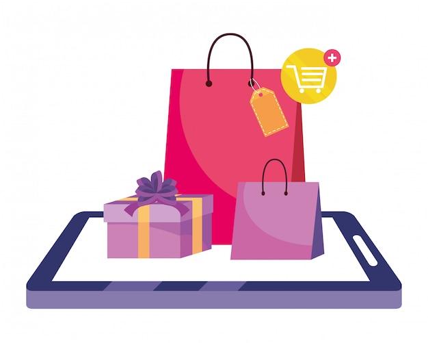 Shopping en ligne icône illustration Vecteur Premium
