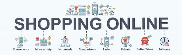Shopping en ligne icône web bannière définie pour le marketing en ligne. Vecteur Premium