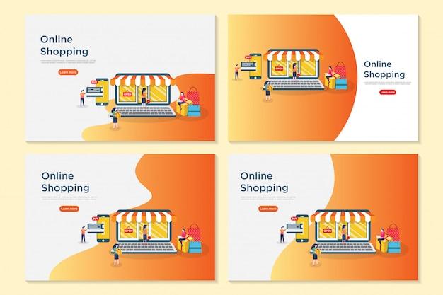 Shopping en ligne Vecteur Premium