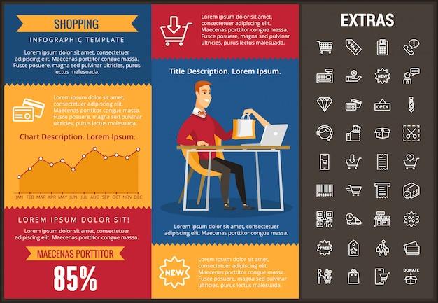 Shopping Modèle Infographique, Des éléments Et Des Icônes Vecteur Premium