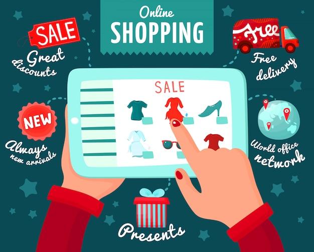 Shopping à partir de smartphone Vecteur gratuit