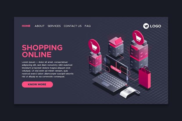 Shopping Style De Page D'atterrissage En Ligne Isométrique Vecteur gratuit