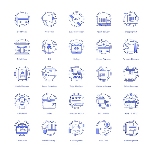 Shopping vector icons pack Vecteur Premium