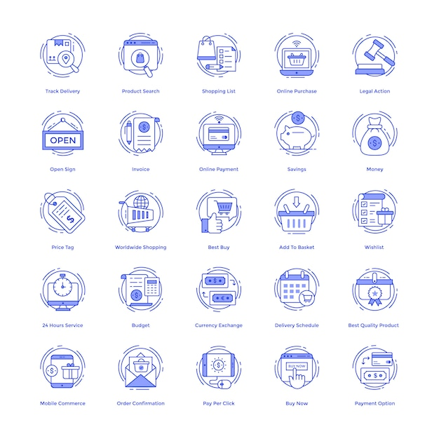 Shopping vector icons set Vecteur Premium