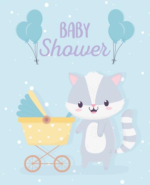 Shower De Bébé Mignon Petit Raton Laveur Avec Landau Et Carte De Ballons Vecteur Premium