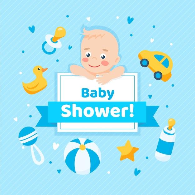 Shower De Bébé Pour Garçon Vecteur gratuit