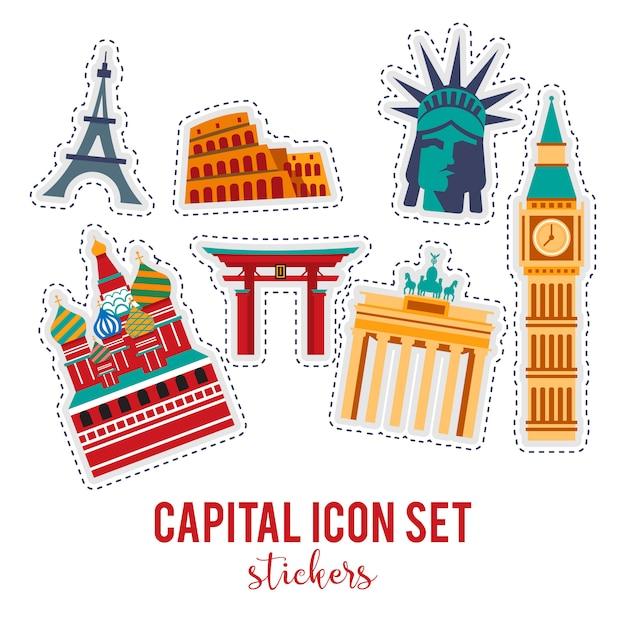 Showplace illustration avec tous les bâtiments célèbres. Vecteur gratuit